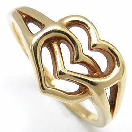 Mikimoto 18K Yellow Gold Double Heart Ring Size 4.75