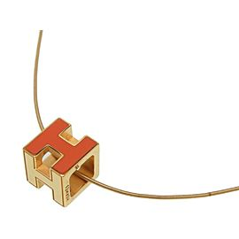 Hermes Gold Tone H Necklace