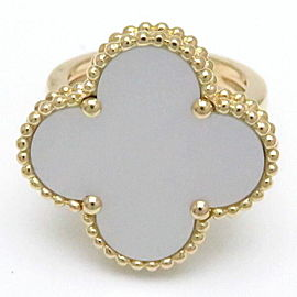 Van Cleef & Arpels 18K Yellow Gold Mother Of Pearl Ring Size 5