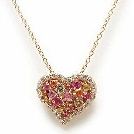 Ponte Vecchio 18K RG Sapphire, Diamond Heart Necklace