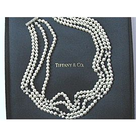 Tiffany & Co. Platinum Cultured Pearl Diamond Choker Necklace