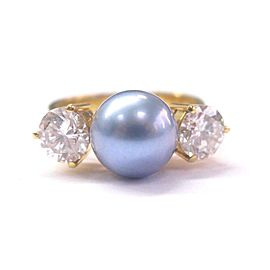 18K Yellow Gold Blue Cultured Pearl Diamond Ring Size 6.5