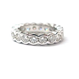 18K White Gold Round Cut Diamond Bezel Set Eternity Band Size 7