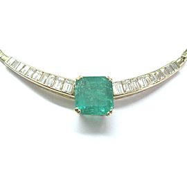 14K Yellow Gold Emerald Diamond Necklace