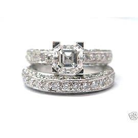 Platinum Asscher Cut Diamond Wedding Set Size 5.5