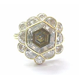 18K Yellow Gold Brown Octagon Half Moons & Round Cut Diamond Wedding Ring Size 4.5