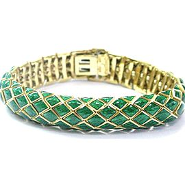 David Webb 18K Yellow Gold Enamel Bracelet