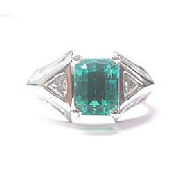 Platinum Beryl Emerald Diamond Ring Size 10