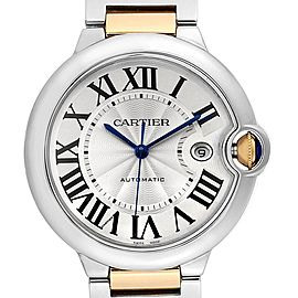 Cartier Ballon Bleu Steel Yellow Gold Mens Watch W69009Z3 Box Papers