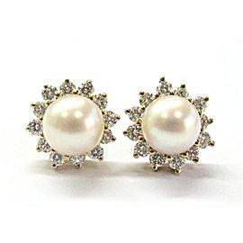 Tiffany & Co. 18K Yellow Gold Cultured Pearl Diamond Earrings