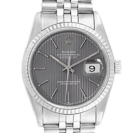 Rolex Datejust 36 Steel White Gold Grey Tapestry Dial Mens Watch 16234