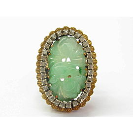 18K Yellow Gold Jade Diamond Ring Size 6