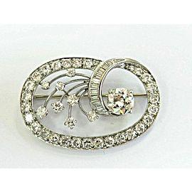 14K White Gold Vintage Old European & Baguette 5.55ctw Diamond Brooch