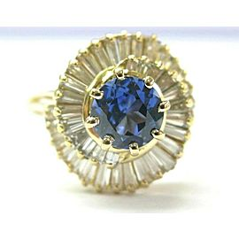 18K Yellow Gold Tanzanite & Baguette Diamond Ballerina Ring Size 7
