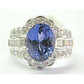 18K White Gold Oval Tanzanite & Multi Shape Diamond Ring Size 7.5