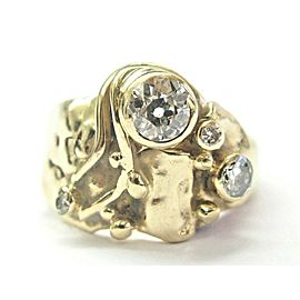 14K Yellow Gold Old European Cut Diamond Vintage Ring Size 5.5