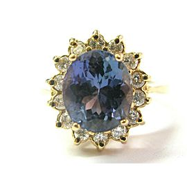 14k Yellow Gold Tanzanite & Diamond Ring Size 5.5