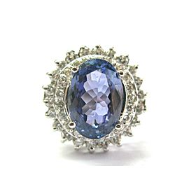 18K White Gold Tanzanite & Diamond Halo Ring Size 8