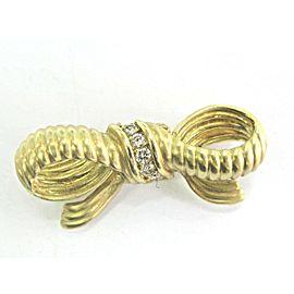 Judith Ripka 18K Yellow Gold .25ctw Diamond Ribbon Brooch