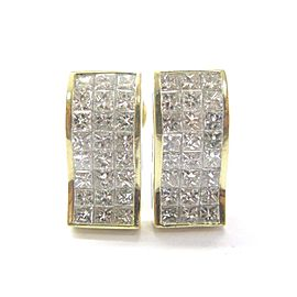 18K Yellow Gold Princess Cut Diamond Earrings