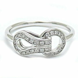 CARTIER 18K WG Agrafe Diamond Ring Size 4.5