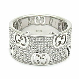 GUCCI 18K WG Icon Stardust Diamond Ring Size 5.25