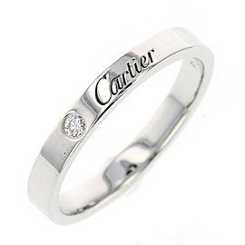 CARTIER Platinum Engraved Logo Ring Size 9.5