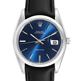 Rolex OysterDate Precision Blue Dial Steel Vintage Mens Watch 6694