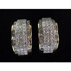 "Princess Cut NATURAL Diamond Invisible Set Yellow Gold Earrings 14Kt 1"" 6.00Ct"