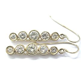 "NATURAL Round Diamond Bezel Set Yellow Gold Dangling Earrings 3.42Ct 1.25"" 14KT"