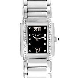 Patek Philippe Twenty-4 Black Diamond Dial Bezel Ladies Watch 4910