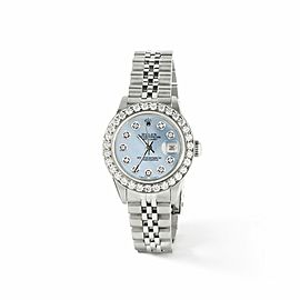 Rolex Datejust Steel 26mm Jubilee Watch Sky Blue MOP 1.3CT Diamond Bezel & Dial
