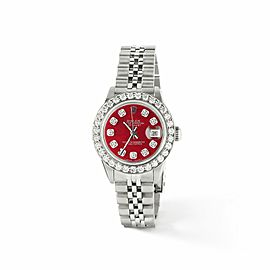 Rolex Datejust Steel 26mm Jubilee Watch Candy Red MOP 1.3CT Diamond Bezel & Dial