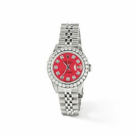 Rolex Datejust Steel 26mm Jubilee Watch Scarlet Red Diamond Dial/Bezel