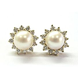 Tiffany & Co 18Kt Pearl & Alternating Diamond Yellow Gold Stud Earrings