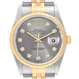 Rolex Datejust 36 Steel Yellow Gold Diamond Mens Watch 16233