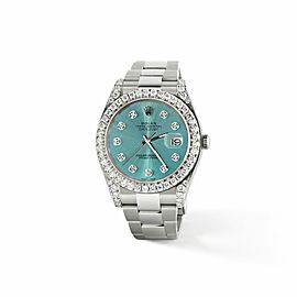Rolex Datejust II Steel 41mm Watch 4.5CT Diamond Bezel/Lugs/Ice Blue Dial