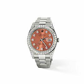 Rolex Datejust II Steel 41mm Watch 4.5CT Diamond Bezel/Lugs/Royal Salmon Dial
