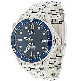 Omega Seamaster Stainless Steel 40mm Automatic Mens Watch Blue Dial