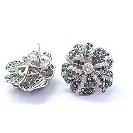 Fine Black & White Diamond White Gold Flower Stud Earrings 14Kt 19.8mm 3.16Ct