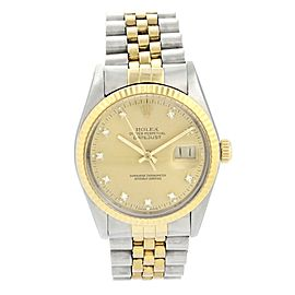 Rolex Datejust 16013 Dimond Dial Men Watch Original Box & Papers