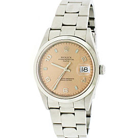 Rolex Date Steel 34mm Salmon Dial Oyster Watch 15200