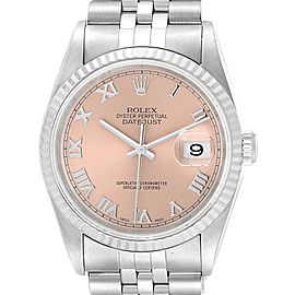Rolex Datejust 36 Steel White Gold Salmon Roman Dial Mens Watch 16234