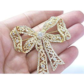 Solid 18Kt Ribbon NATURAL Diamond Pin / Brooch Yellow Gold 7.26CT