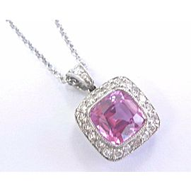 Tiffany & Co Platinum Pink Sapphire Diamond Legacy Pendant Necklace 1.99Ct+.46Ct