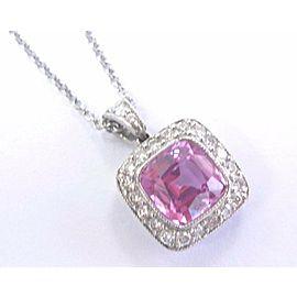 Tiffany & Co Platinum Pink Sapphire Diamond Legacy Pendant Necklace 1.99Ct+.46Ct