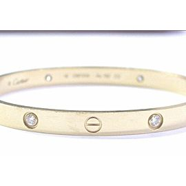 Cartier 4 Diamond 18K Yellow Gold Love Bracelet, Size 19