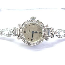 Hamilton 19mm Womens Watch Platinum Vintage Round & Baguette Diamond 4.00Ctw