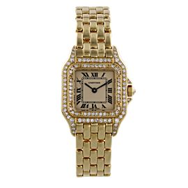 Cartier Panthere 18K Yellow Gold Diamond Case & Bezel Ladies Watch
