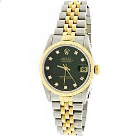 Rolex Datejust 2-tone 18k/SS 31mm Factory Black Diamond Dial Midsize Watch